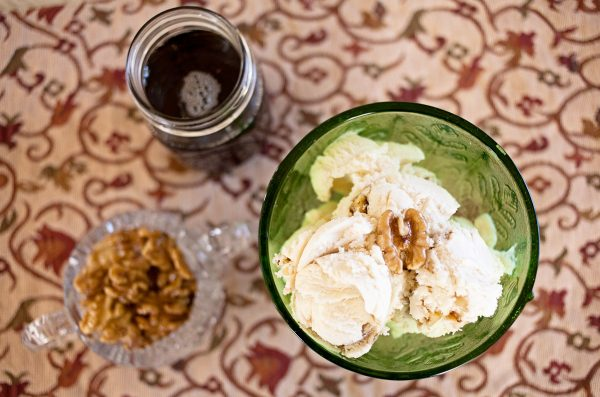 Maple Ice Cream with Caramelized Walnuts