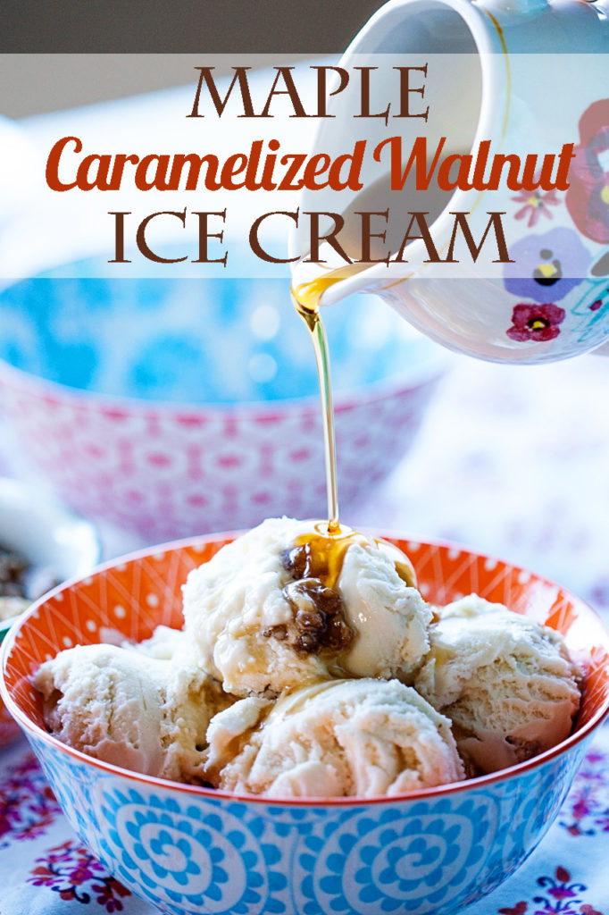 With real maple syrup and delicious caramelized walnuts, this Maple Ice Cream with Caramelized Walnuts is the perfect, natural ice cream for fall.