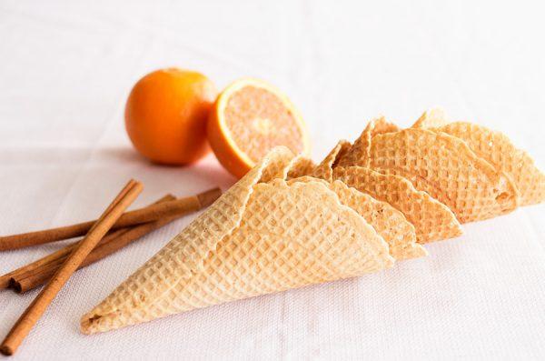 Cinnamon Orange Waffle Cones