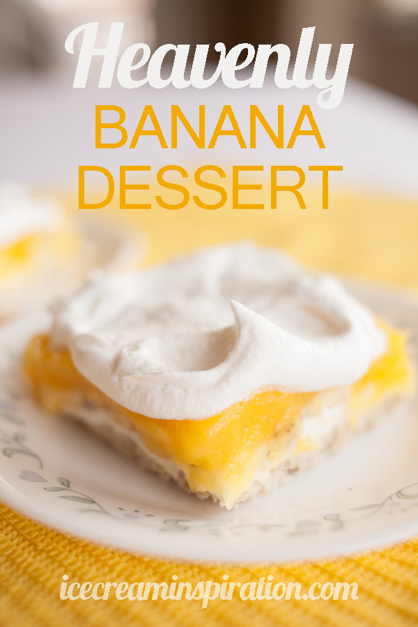Easy, delicious, and positively addicting, this Heavenly Banana Dessert will knock your socks off! Invite guests over, or you might eat the whole pan yourself!