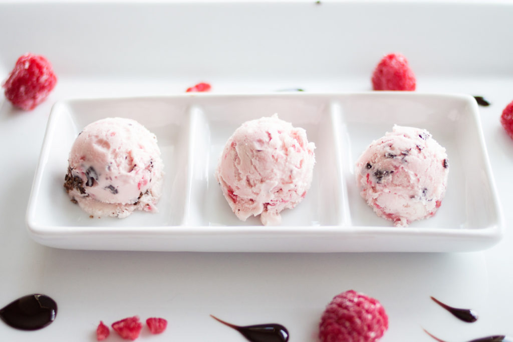 Luscious raspberries are the star in this Raspberry Dark Chocolate Ice Cream. It's perfect for Valentine's Day (or any day!) Don't wait to make it!