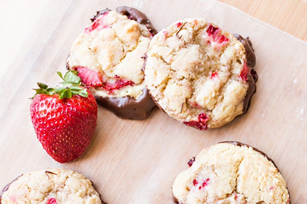 Strawberry Chocolate-dipped Cookies. What you get when you combine three of the most amazing things ever.