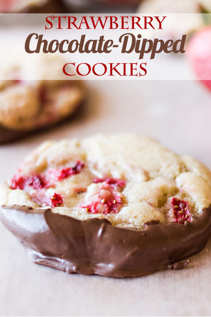 Strawberry Chocolate-dipped Cookies. The best combination ever in the history of mankind. Make some now!