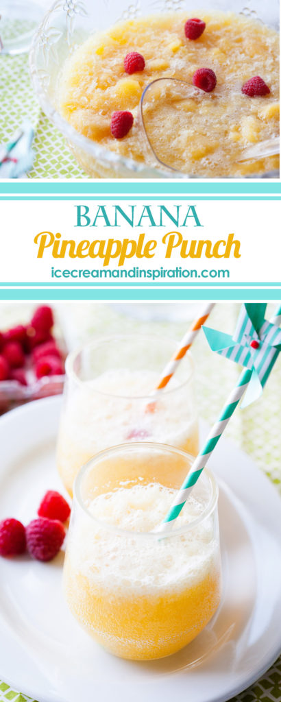 This Banana Pineapple Punch is the best party punch recipe ever! It's slushy and fizzy and amazingly delicious! You'll fall in love with it with the first sip! Party punch recipes, banana slush punch, pineapple slush punch