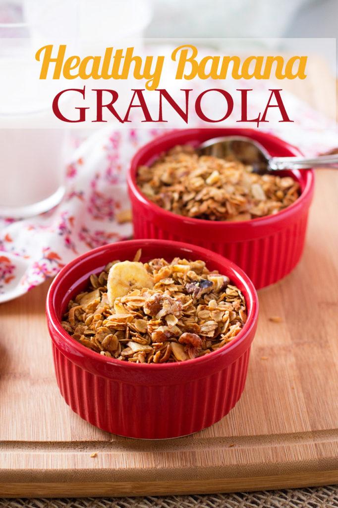 This Healthy Banana Granola recipe tastes like banana bread and has a fraction of the sugar of store-bought granola! Healthy granola recipe, easy granola recipe