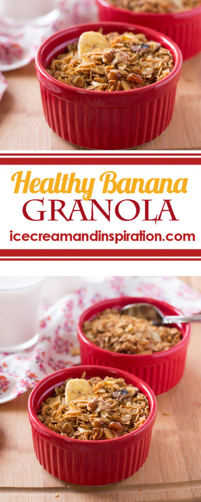 This Healthy Banana Granola recipe has a fraction of the sugar of store-bought granola, and tastes like banana bread! Healthy granola recipe, easy granola recipe