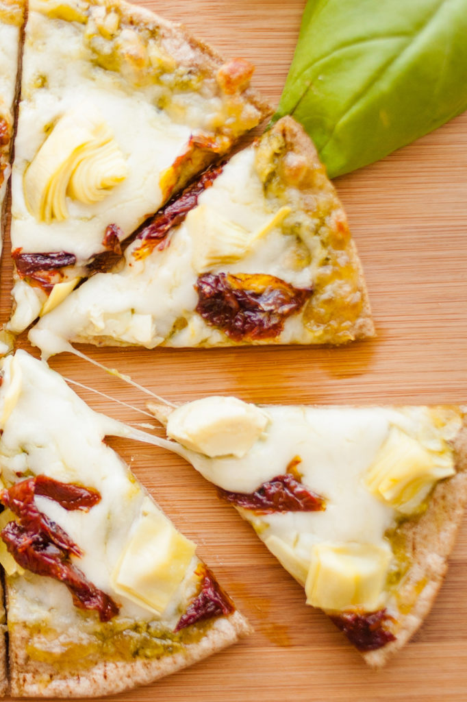 Artichoke and Sun-dried Tomato Pita Pizza by Ice Cream and Inspiration.