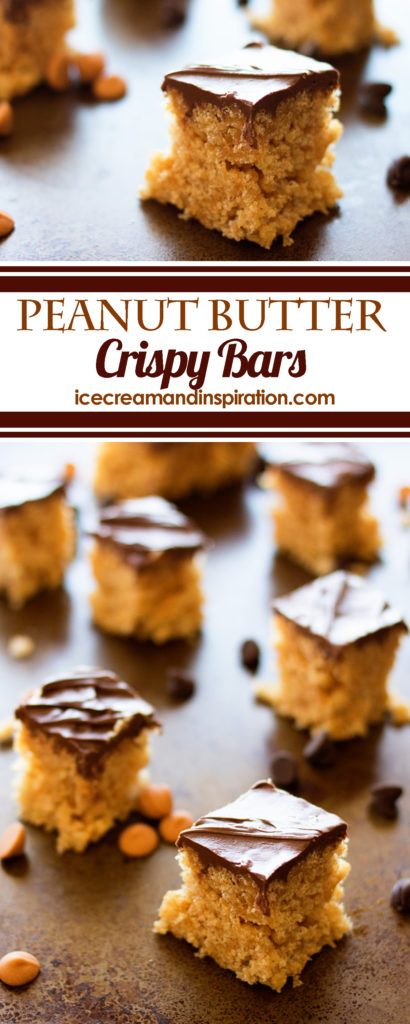 These Peanut Butter Crispy Bars are the perfect treat to take to parties and picnics. Only six ingredients, and no baking!