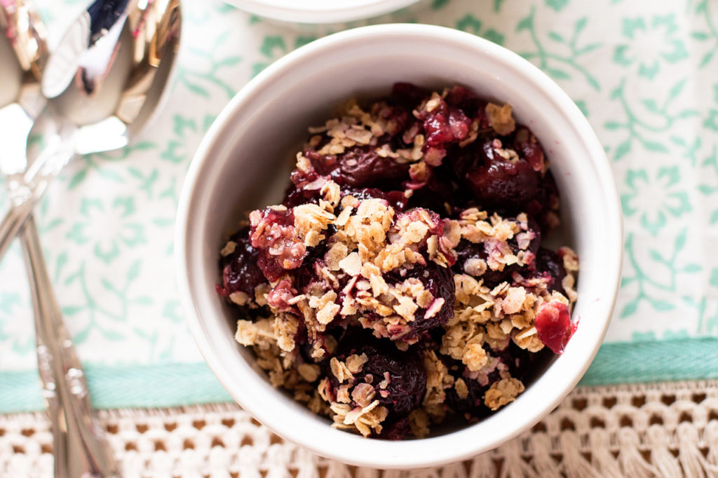 This classic Cherry Crisp recipe is the perfect fruity dessert! Wholesome and delicious, you could practically eat it for breakfast!