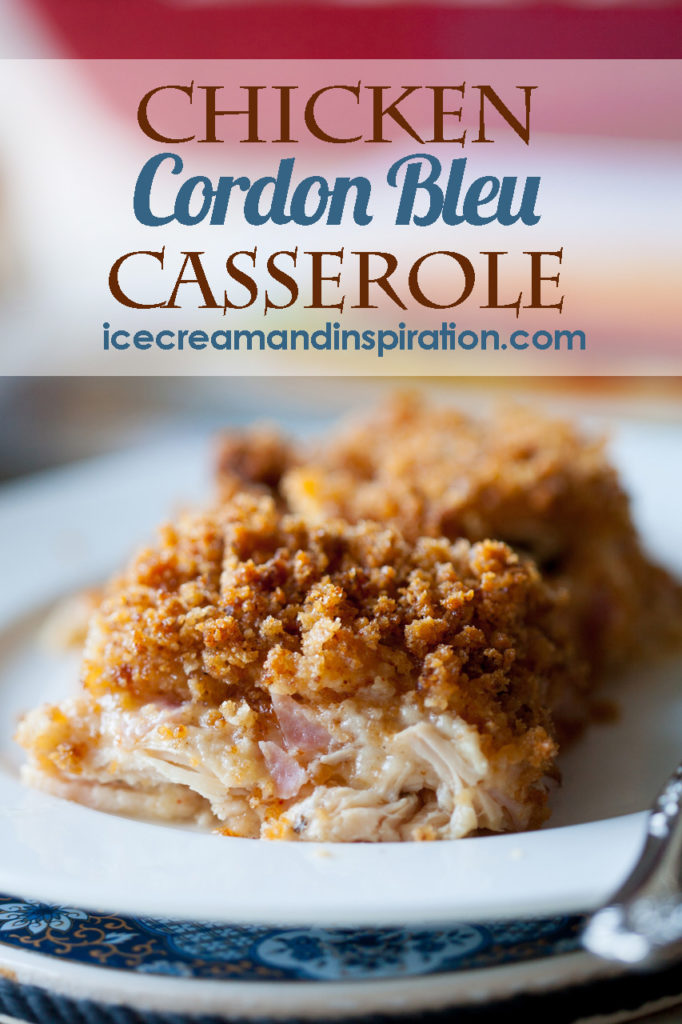 This Chicken Cordon Bleu Casserole combines layers of chicken, ham, cheese, and a creamy white sauce to make the perfect dinner, any time of year! Chicken casserole, easy casserole recipes
