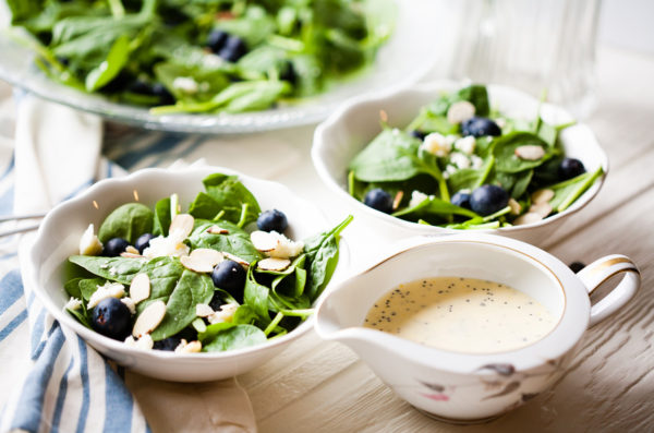 Spinach Blueberry Salad with Orange Poppy Seed Dressing