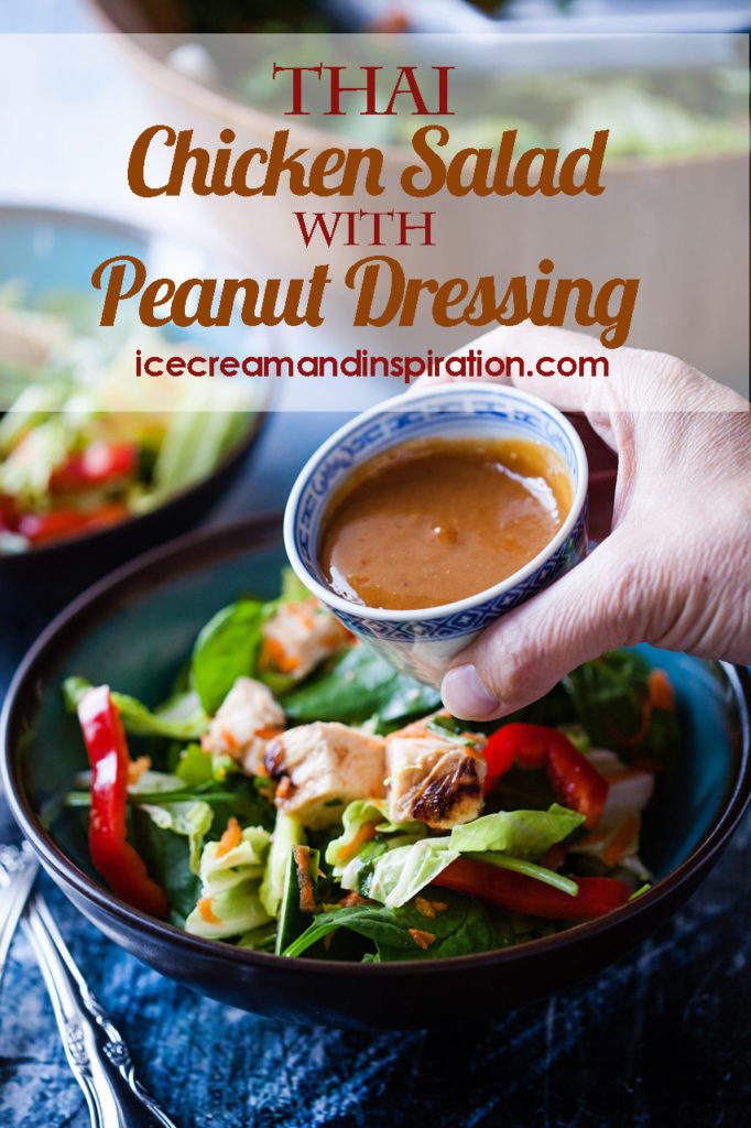 This Thai Chicken Salad with Peanut Dressing is the best Asian salad you will ever have! Full of colorful vegetables and chicken and topped with a sweet red chili sauce and peanut dressing.