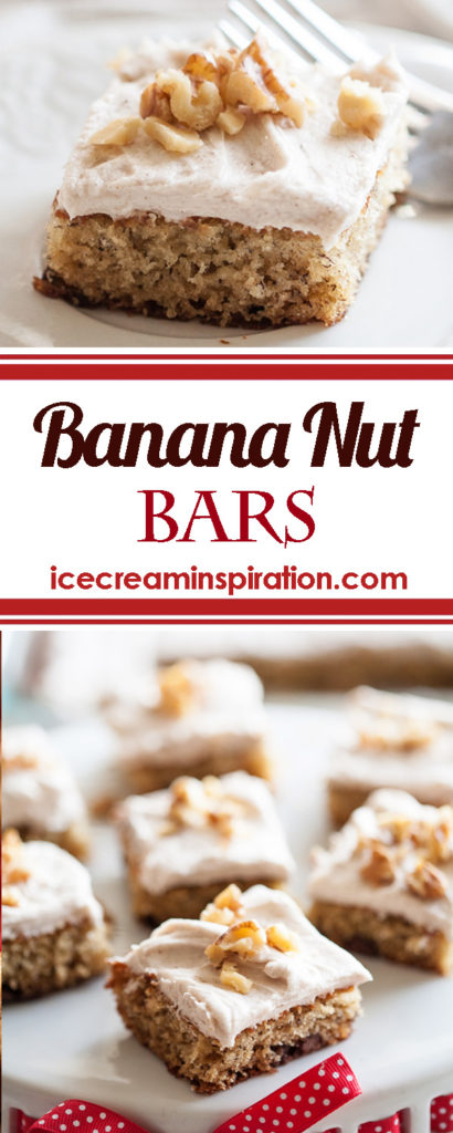 Have some brown bananas in your kitchen? Don't let them go to waste! Use them in these delicious Banana Nut Bars with Cinnamon Cream Cheese Frosting instead!