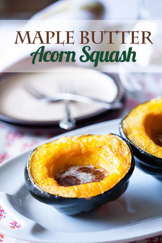 This Maple Butter Acorn Squash is baked with real maple syrup and butter, along with cinnamon, nutmeg, and cloves.