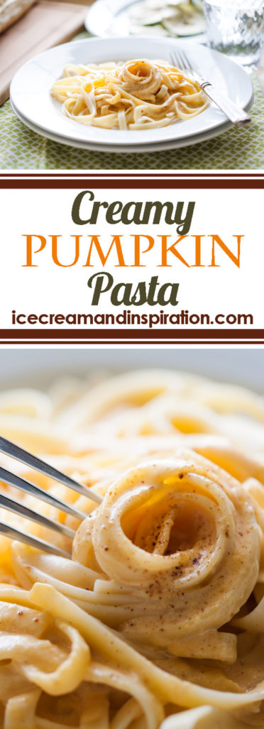 This Creamy Pumpkin Pasta can be made from start to finish in just 15 minutes! It's a super fast weeknight dinner that the whole family will love!