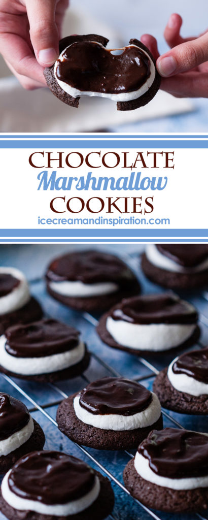 These Chocolate Marshmallow Cookies are soft, puffy chocolate cookies topped with melted marshmallow and rich chocolate ganache. Christmas cookies, cookie exchange
