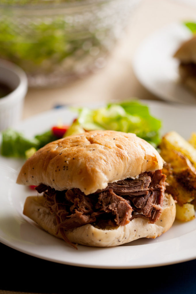 These tender, flavorful French Dip Sandwiches are the perfect, easy meal for any day of the week. Make beef stew with the leftovers!