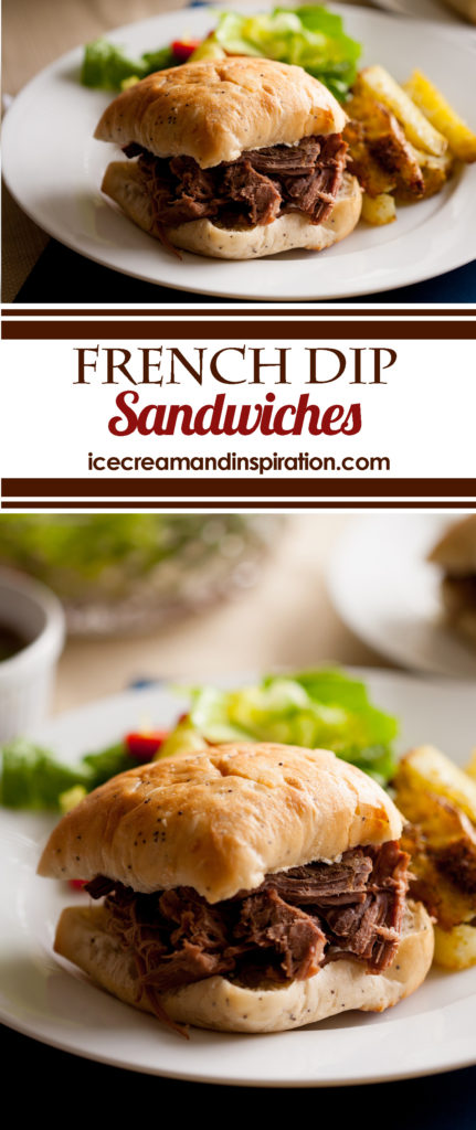 These tender, flavorful French Dip Sandwiches are the perfect, easy meal for any day of the week. Just throw everything in the crock pot and walk away!