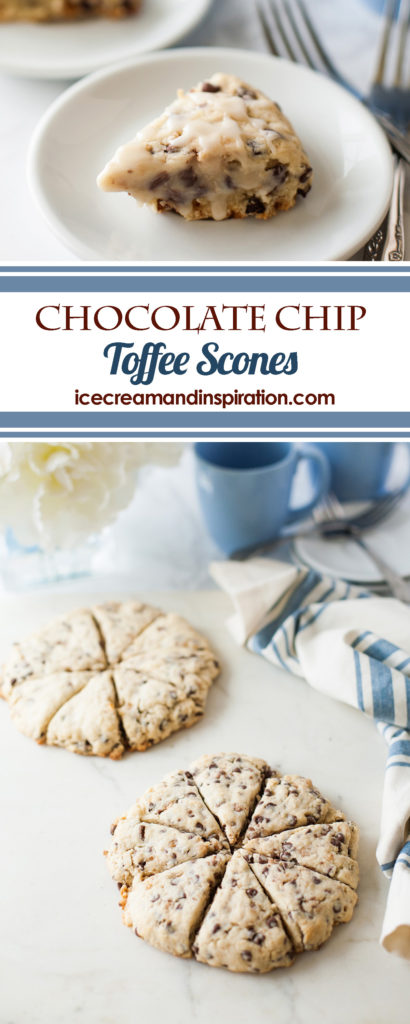 Chocolate Chip Toffee Scones. Tender, mildly sweet scones with mini chocolate chips and toffee bits. A wonderful treat for breakfast or brunch!