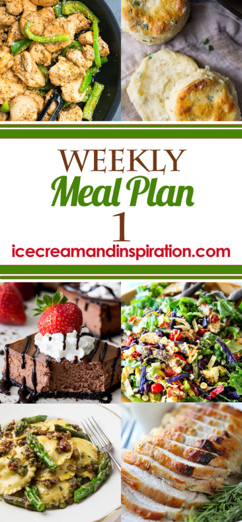 Every week I create a meal plan just for you with a great variety of new dishes for you to try! I've gathered some of the best recipes from all over the web for this weekly meal plan. Main dishes for every day, plus a bread and dessert recipe.
