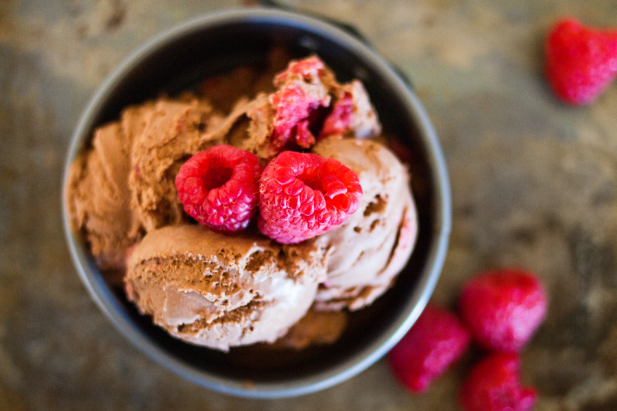 This delectable ice cream pairs two of nature's most delicious flavors--chocolate and raspberry. Homemade raspberry topping is mixed into this decadent, dark chocolate to create the perfect showstopping dessert