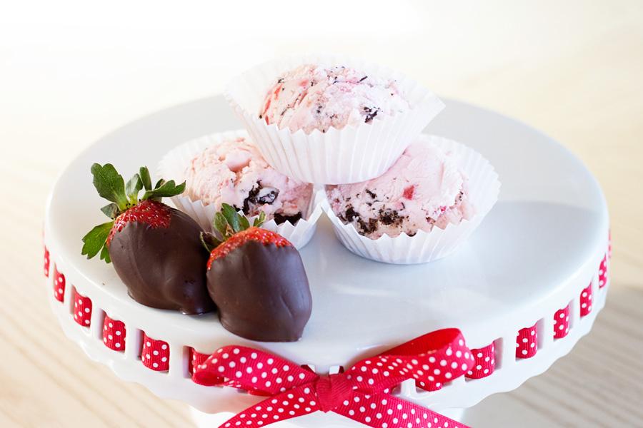 Strawberry with Dark Chocolate Ice Cream