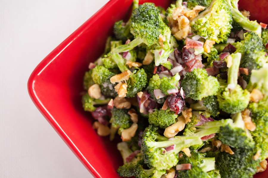 Perfect Broccoli Salad, broccoli, walnuts and cranberries in a creamy dressing, perfect for summer!