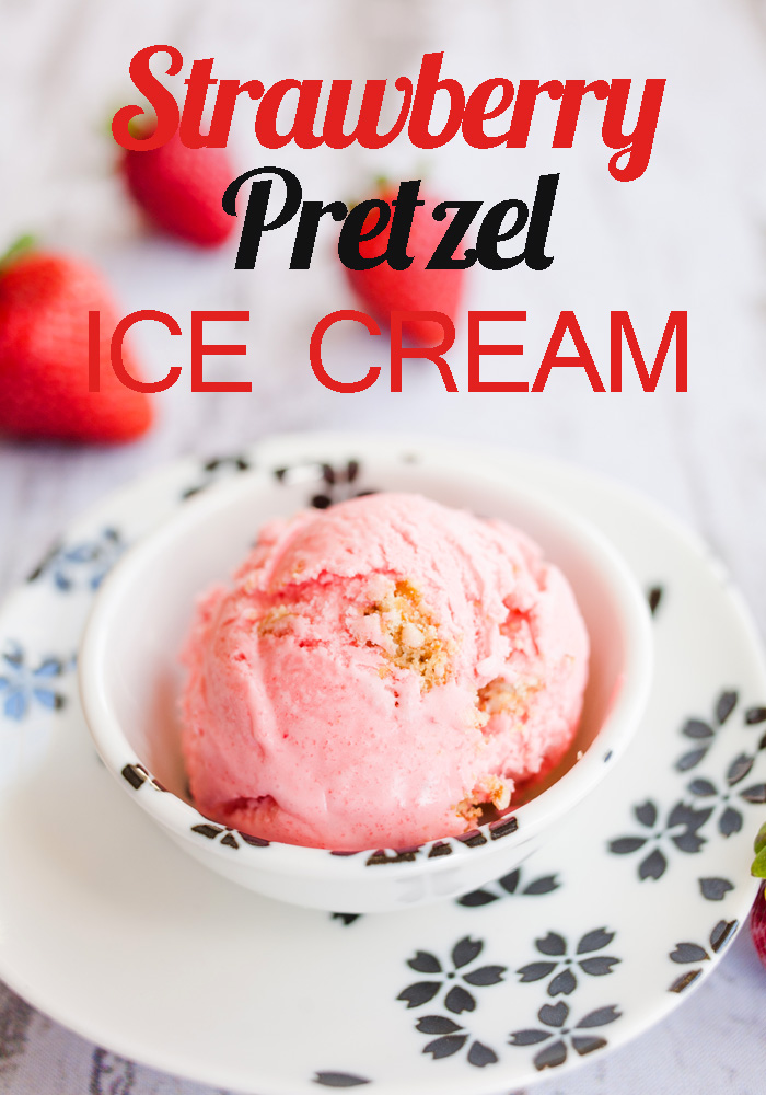Gorgeous pink strawberry ice cream inspired by the classic strawberry pretzel dessert! Super easy to make, and so beautiful to behold!