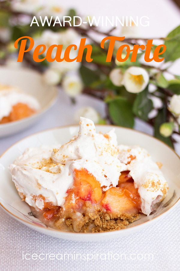 Find out why this Peach Torte won a contest and what horse lips has to do with it!
