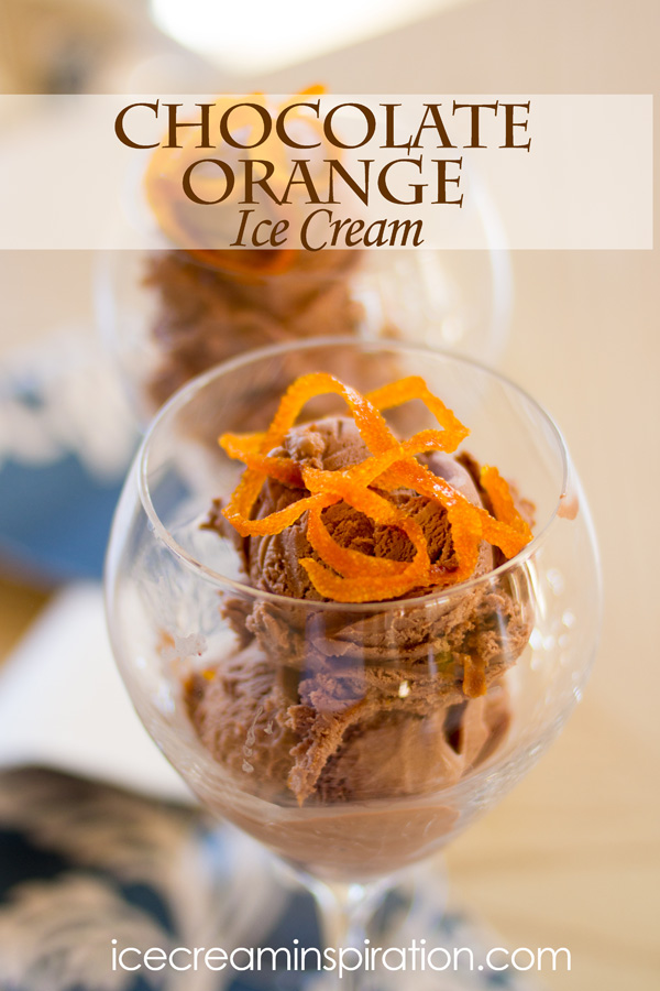 Deep chocolate ice cream with chocolate swirls paired with tart orange essential oil and candied orange peels. An impressive and delectable ice cream!