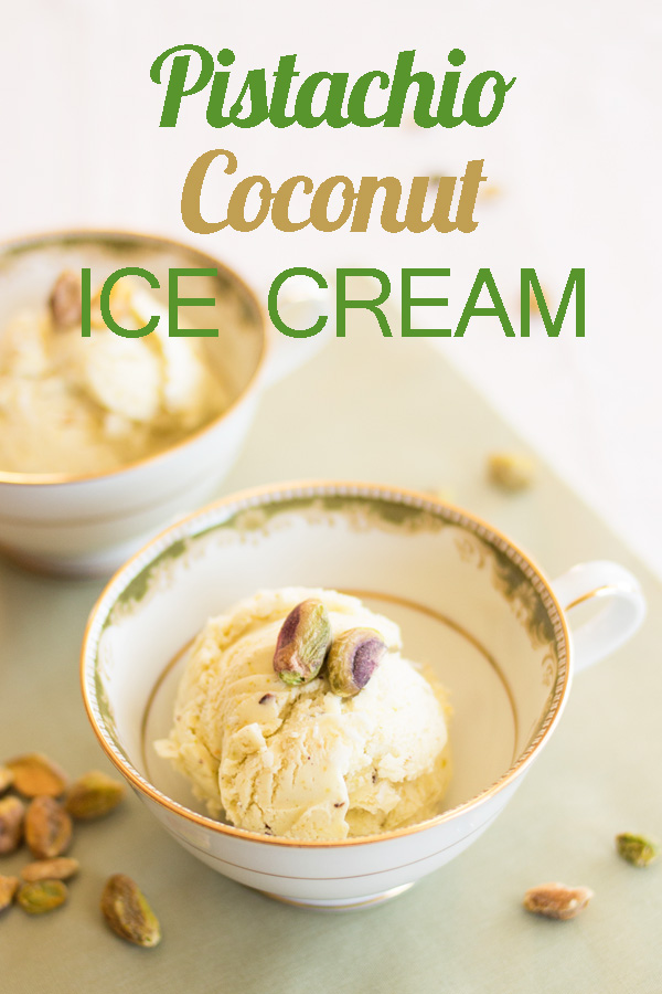 One of the healthiest ice creams you can make, using the super food of coconut oil and heart-healthy pistachios.