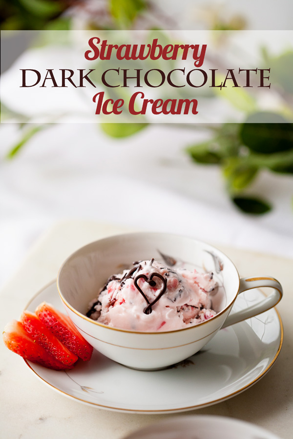 This Strawberry Dark Chocolate Ice Cream is the perfect way to get the taste of chocolate dipped strawberries! A perfect Valentine's Day dessert!