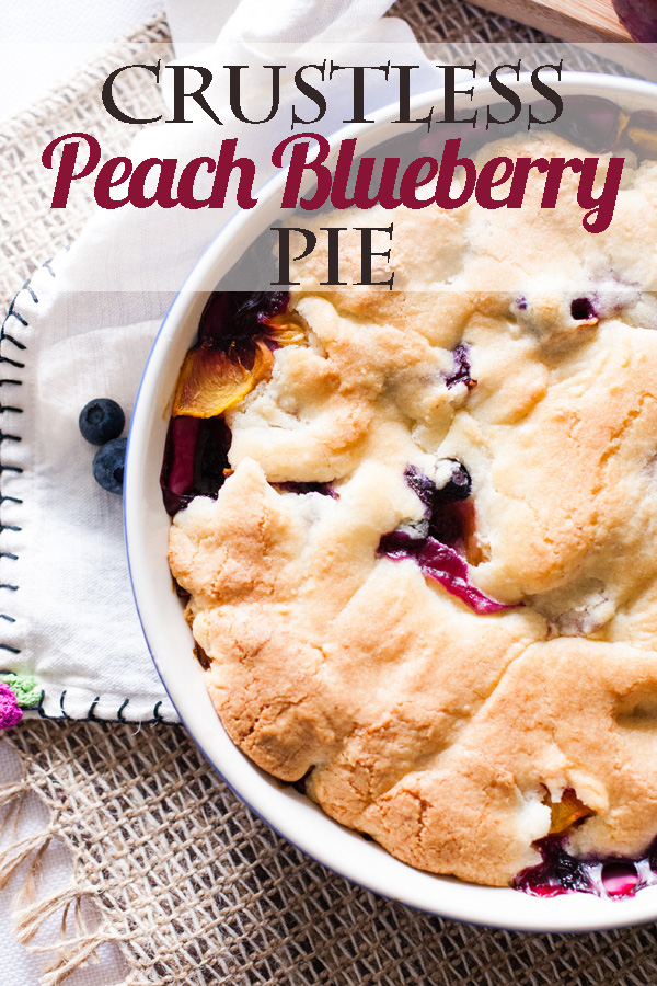 Crustless Peach Blueberry Pie by Ice Cream Inspiration. The gorgeous, delicious way to show of your peaches and blueberries.
