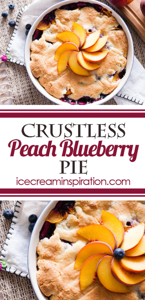 Don't worry about the crust with this Crustless Peach Blueberry Pie. Peaches and blueberries meld into a gorgeous purple color with a crispy crust on top. The perfect showcase for summer fruit.