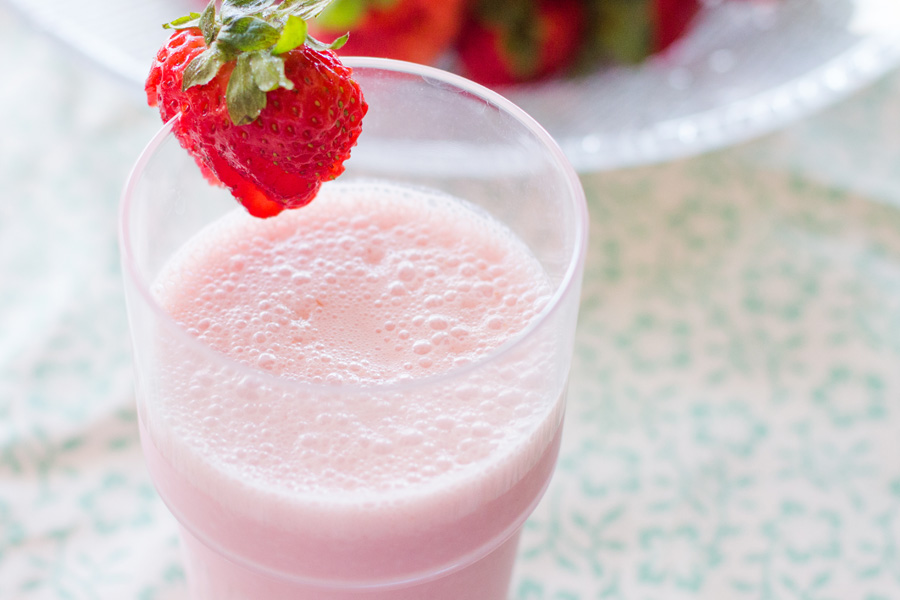 Strawberry Lassi. Only three ingredients! Whip one up right away!