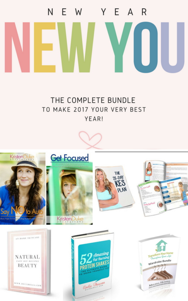 New Year, New You Bundle 2017. The complete bundle to make 2017 your very best year! New Year's Resolutions, New Year's Goals, How to accomplish your goals, New Year's Resolution Ideas