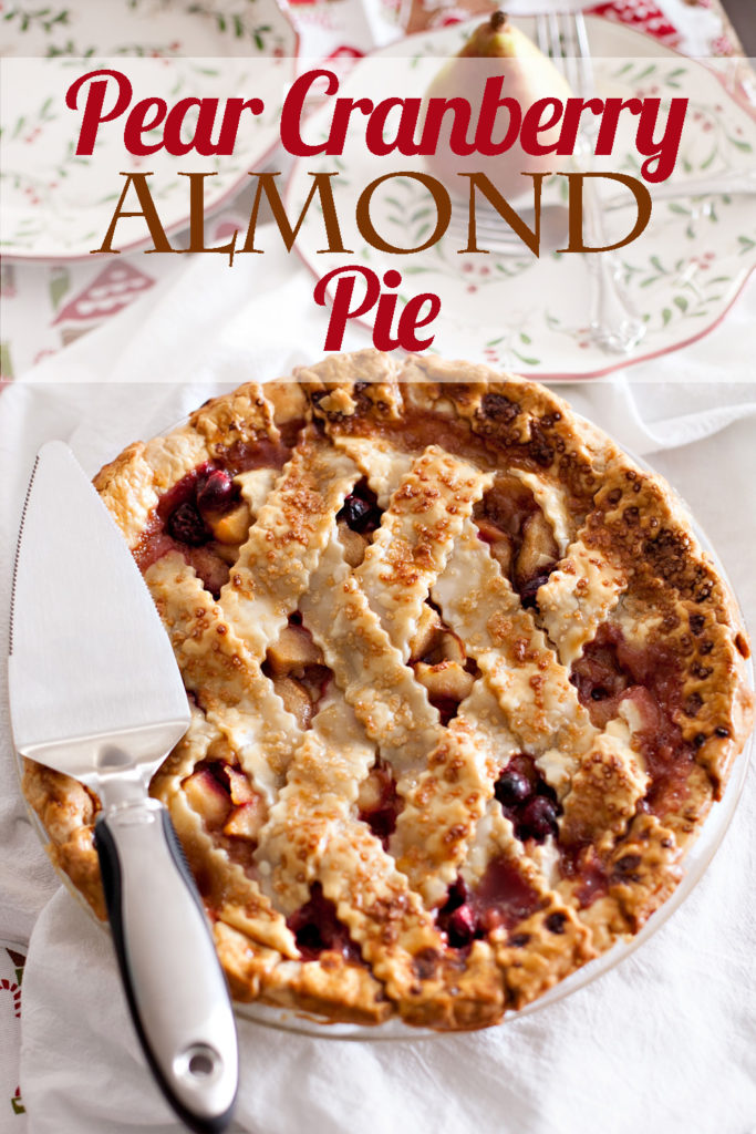 Pear Cranberry Almond Pie. The best holiday pie you will ever eat! Bake straight from the freezer! Pear Pie, Cranberry Pie, Almond Pie, Christmas Pie.