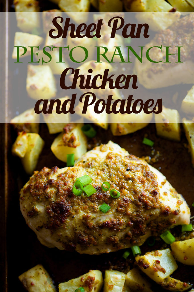 Want a fast, yet impressive dinner? This Sheet Pan Pesto Ranch Chicken and Potatoes dinner could not be easier or more delicious! Make it today! Sheet pan dinners, sheet pan suppers, pesto chicken, pesto potatoes, ranch chicken, ranch potatoes, easy dinner ideas