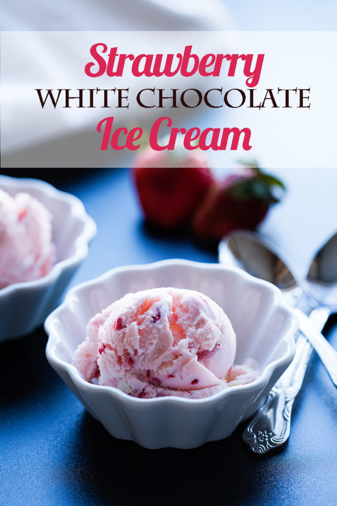 Strawberries and white chocolate are the stars in this perfect ice cream for Valentine's Day, or for any time of the year! Learn how easy it is to make! White chocolate covered strawberries, chocolate covered strawberries, valentine's recipes, strawberry desserts