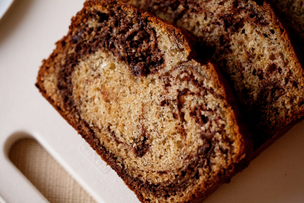 Make this Chocolate Marbled Banana Bread! It is classic banana bread with a delicious twist! Chocolate Banana Bread.