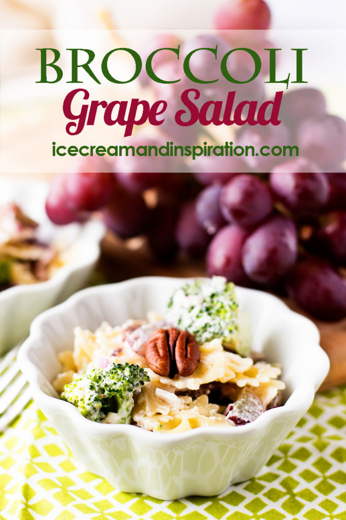 This Broccoli Grape Salad recipe combines the bright colors and flavors of broccoli and grapes with bow-tie pasta, bacon, pecans, and a creamy sauce. It's a sure hit at any picnic, barbecue, or luncheon.
