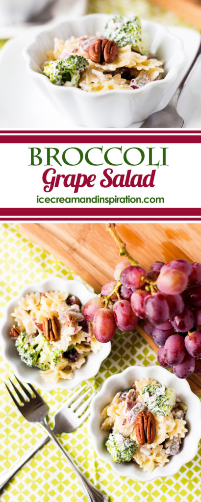 This Broccoli Grape Salad recipe combines the bright colors and flavors of broccoli and grapes with bow-tie pasta, bacon, and a creamy sauce. It's a sure hit at any picnic, barbecue, or luncheon.