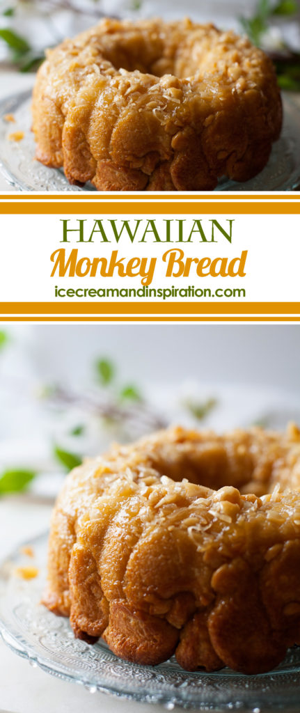 Make this Hawaiian Monkey Bread for a tropical-themed breakfast or brunch! Pineapple, coconut, and macadamia nuts bring a taste of the islands right into your kitchen! (Not to mention a heavenly smell!) Brunch menu, brunch ideas,