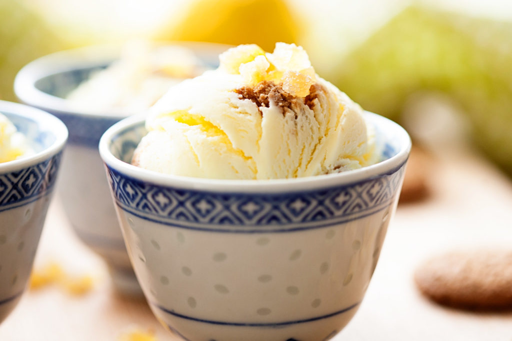 Lemon Gingersnap Ice Cream is full of lemony goodness and gingersnap cookies.