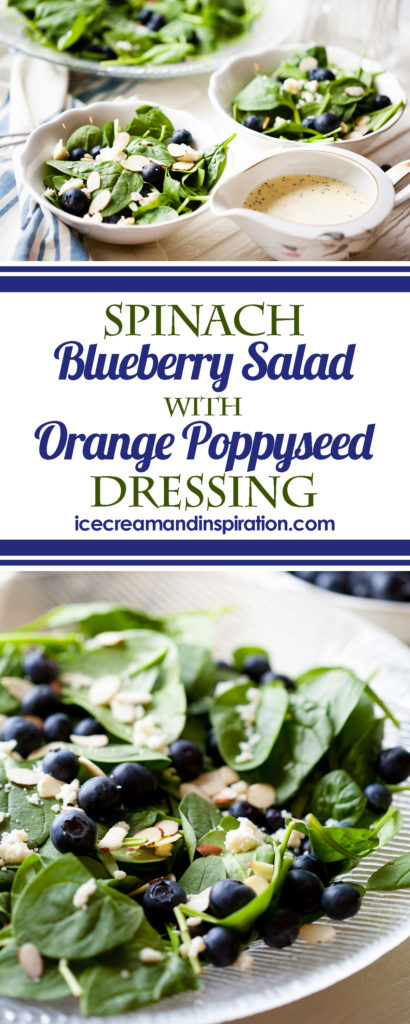 This super-food Spinach Blueberry Salad with Orange Poppy Seed Dressing is amazingly delicious and healthy. Quick and easy to make, and delicious to eat!
