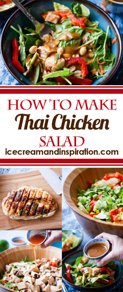 How to make Thai Chicken salad with an amazing peanut dressing! Take marinated, grilled chicken and chop it up for this salad full of vibrant colors and a sweet, zesty sauce!