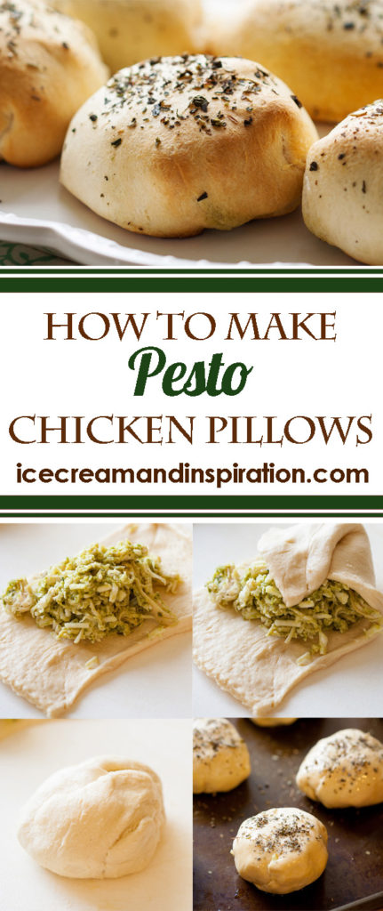 These quick and easy Pesto Chicken Pillows are made with croissant dough, shredded chicken, mozzarella, and pesto. They may look fancy, but they are so easy to make!