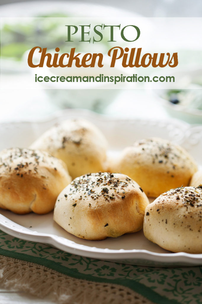These quick and easy Pesto Chicken Pillows are made with croissant dough, shredded chicken, mozzarella, and pesto. It's the fanciest dinner you will ever make, with the least amount of effort!