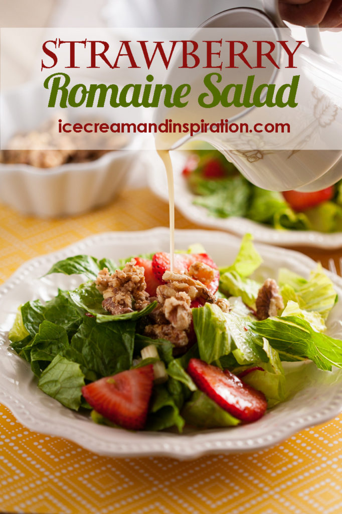 Strawberry Romaine Salad with Orange Italian Dressing and candied walnuts. Strawberry salad, summer salad