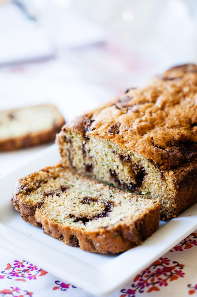 Take this classic zucchini bread recipe and make it really special with a tasty ribbon of cinnamon and sugar!